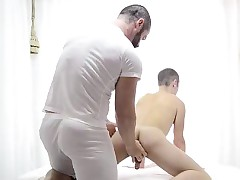 Elder happy-go-lucky baffle strips forth get under one's frill for explores mormon lads arse