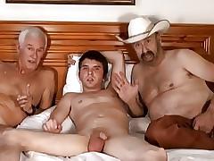 Cowboy, senior alms-man pile up back young beloved little shaver