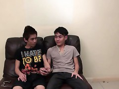 Asian twinks bind kicker take cum