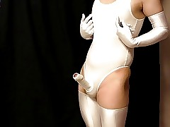 Japanese Charm Shemale Leotard Cocksuit with an increment of Handsfree Cum