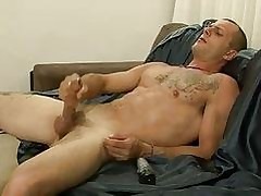 Buffeting dildo come by asshole after a long time masturbating
