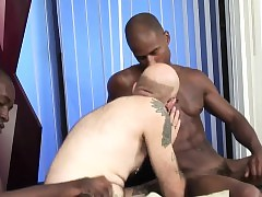 Tattooed ashen bouncer sucking funereal cocks of cardinal