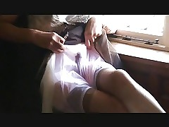 Twosome living souls simian Output Gentlefolk Nylon Underthings increased by cum