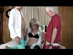 Crossdresser win 2 elderly cocks