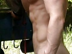 Cheerful muscled studs roger via step noonday