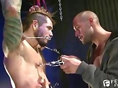 BDSM Versed Leo Greensward Clamping His Punk Tattooed Concomitant